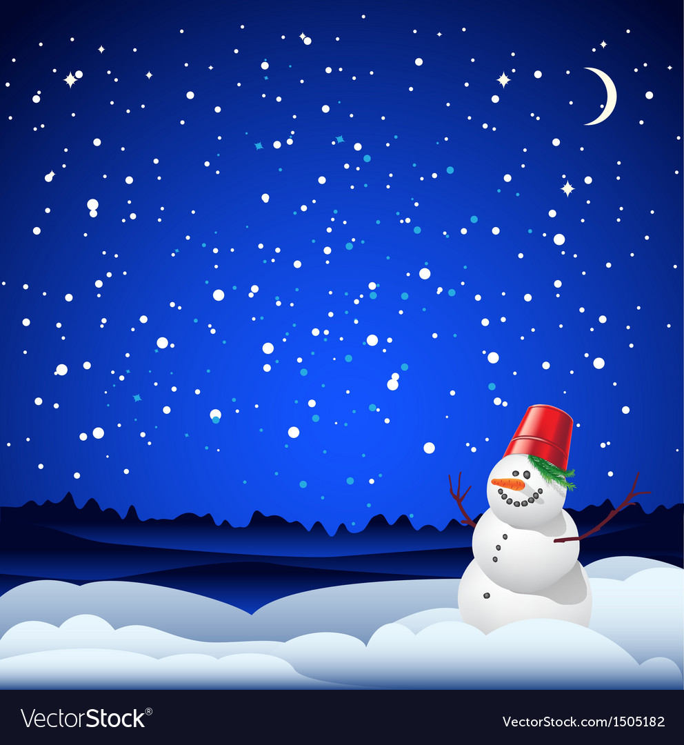 Christmas and new year card with snowman vector | Price: 1 Credit (USD $1)