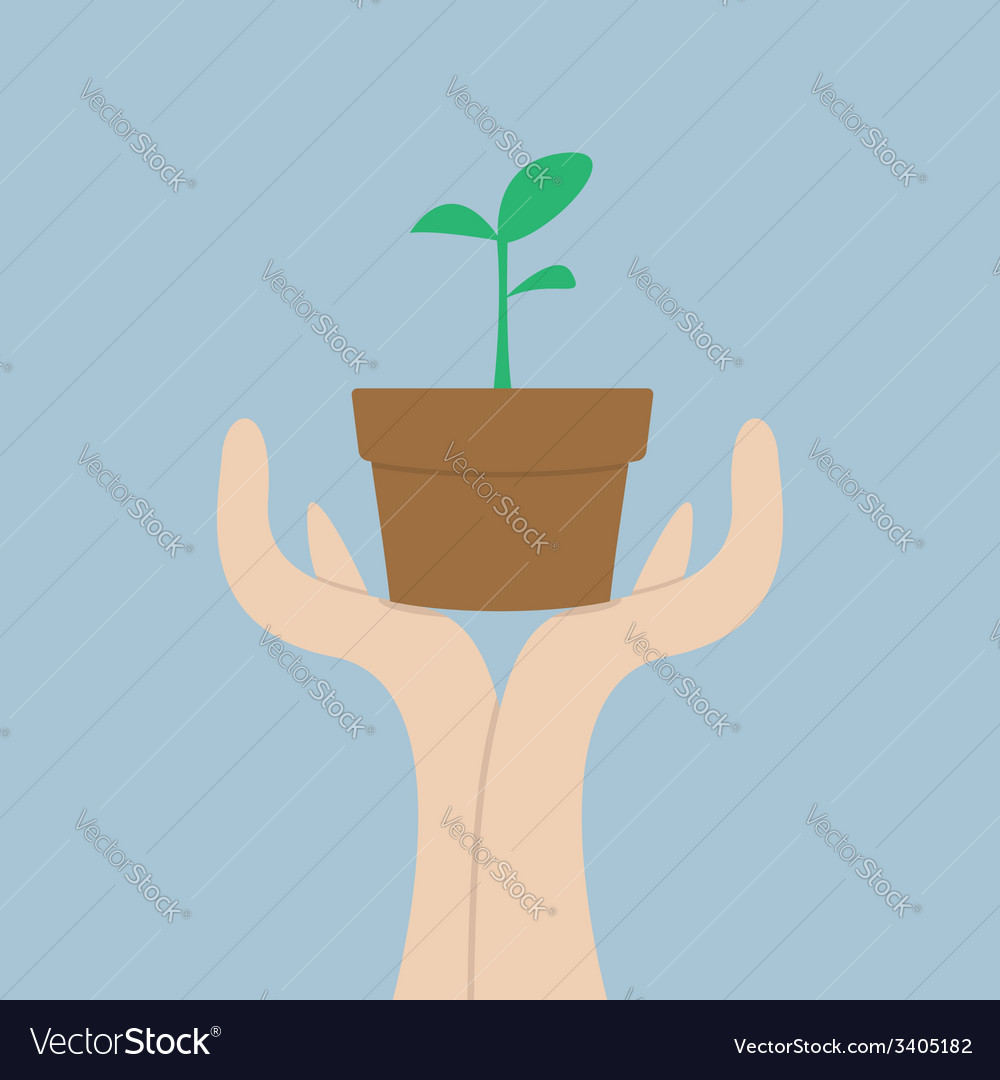 Hands holding small plant growth concept vector | Price: 1 Credit (USD $1)