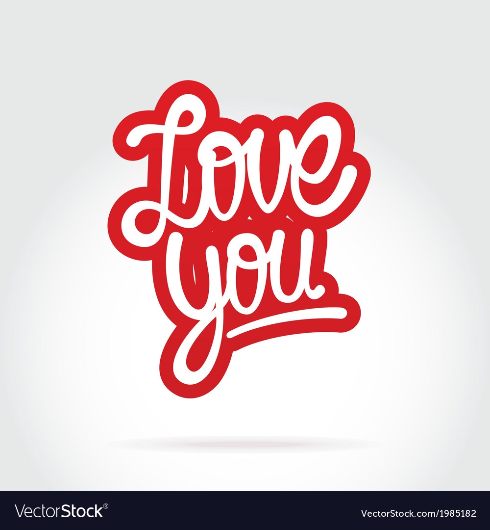 Love you hand lettering vector | Price: 1 Credit (USD $1)