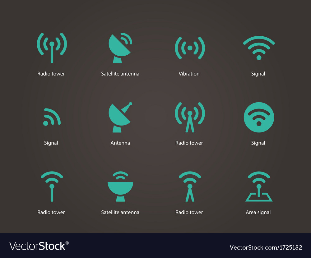 Radio tower icons vector | Price: 1 Credit (USD $1)