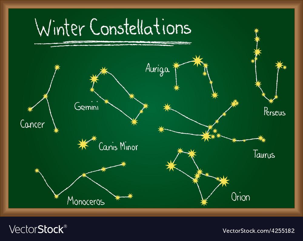 Winter constellations on chalkboard vector | Price: 1 Credit (USD $1)
