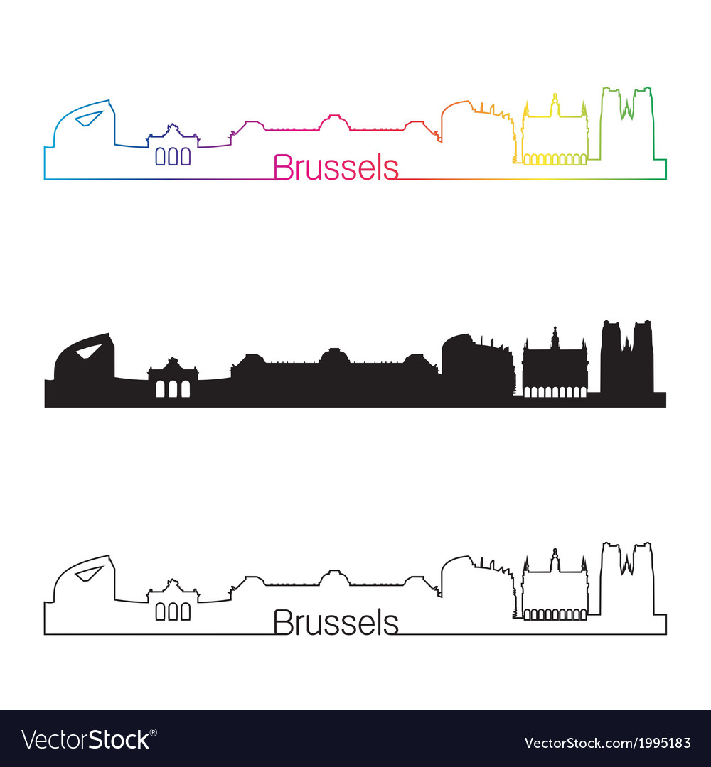Brussels skyline linear style with rainbow vector | Price: 1 Credit (USD $1)