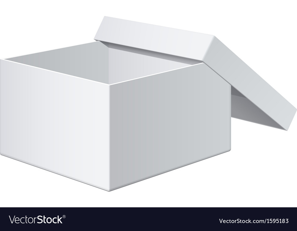 Cool realistic white blank package box opened for vector | Price: 1 Credit (USD $1)