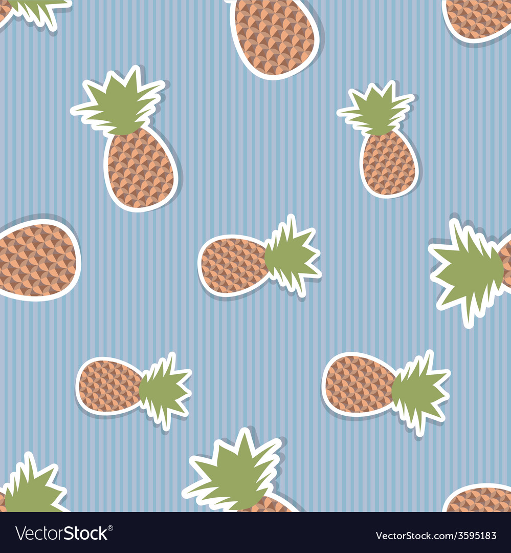 Pineapple pattern seamless texture with ripe red vector | Price: 1 Credit (USD $1)