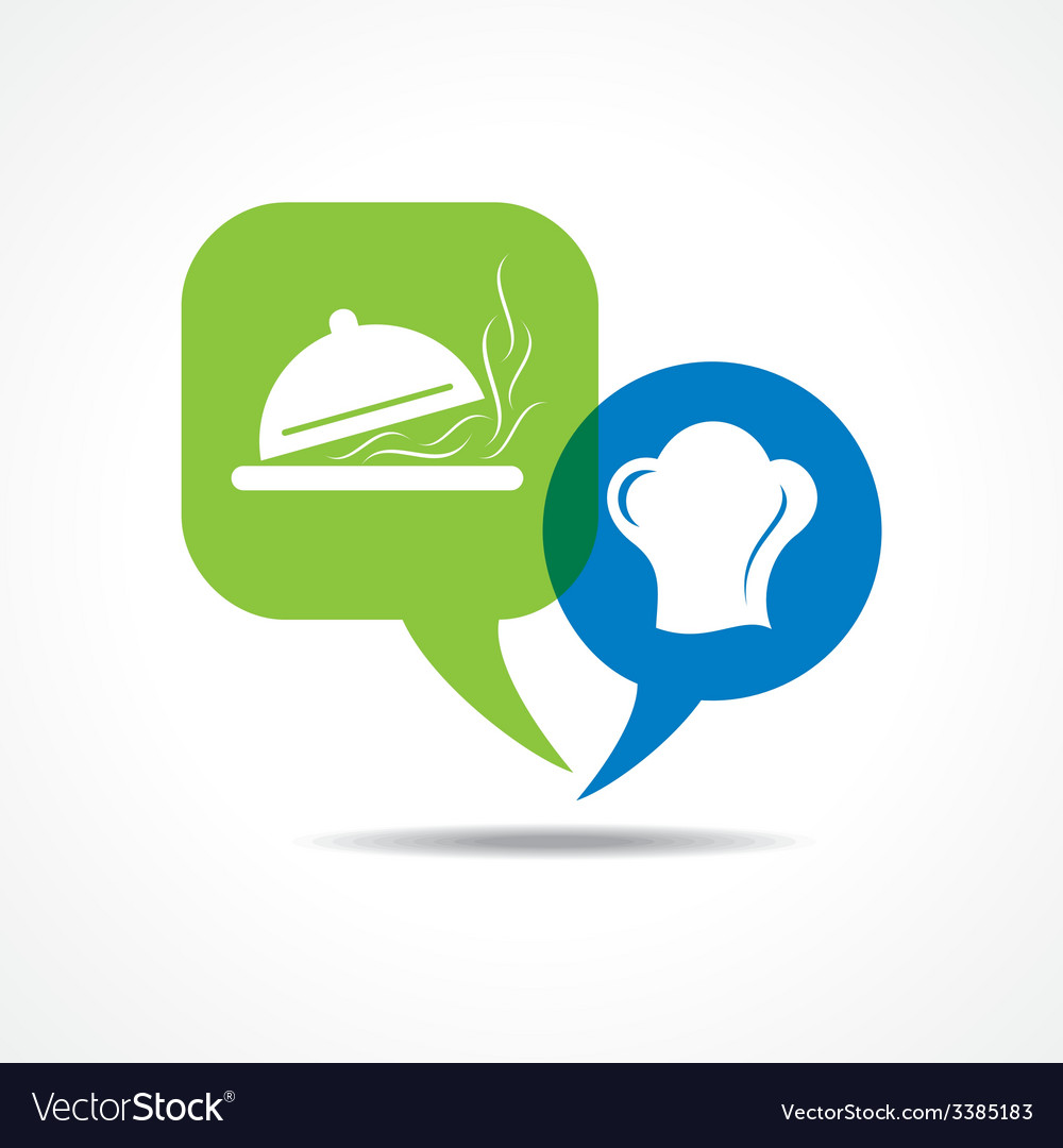 Platter and chef hat in message bubble vector | Price: 1 Credit (USD $1)
