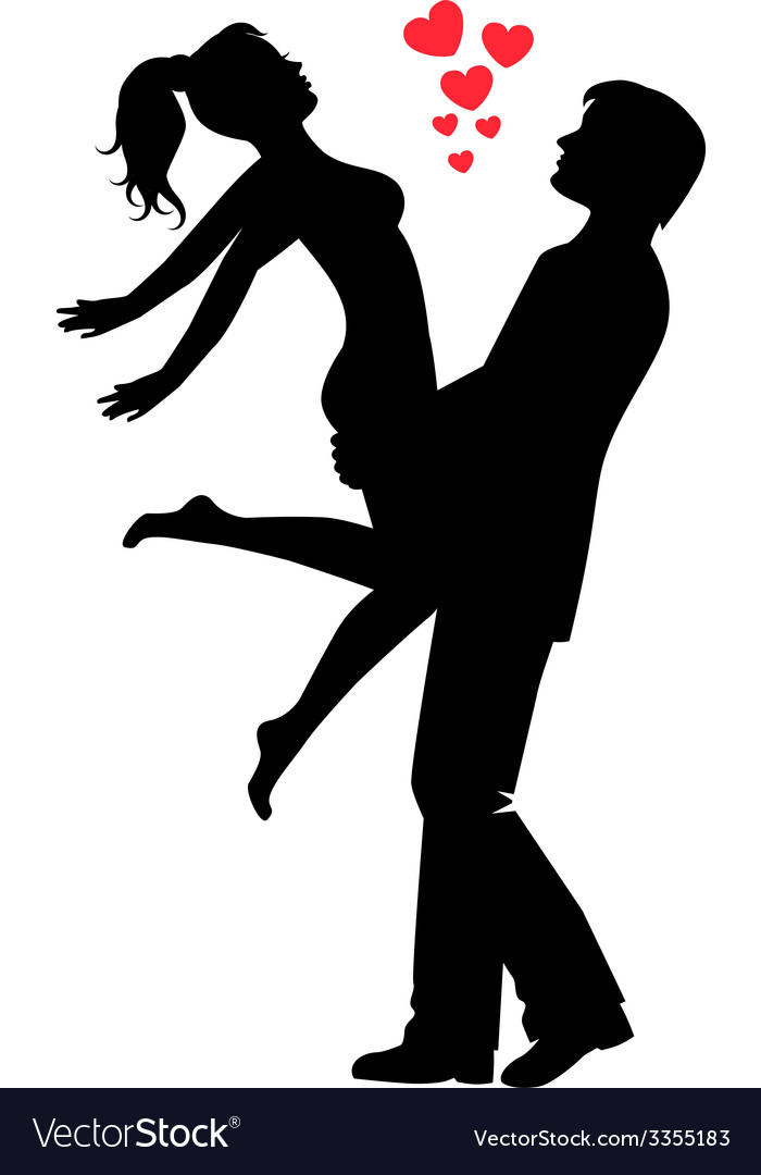 Silhouette of a happy loving couple vector | Price: 1 Credit (USD $1)