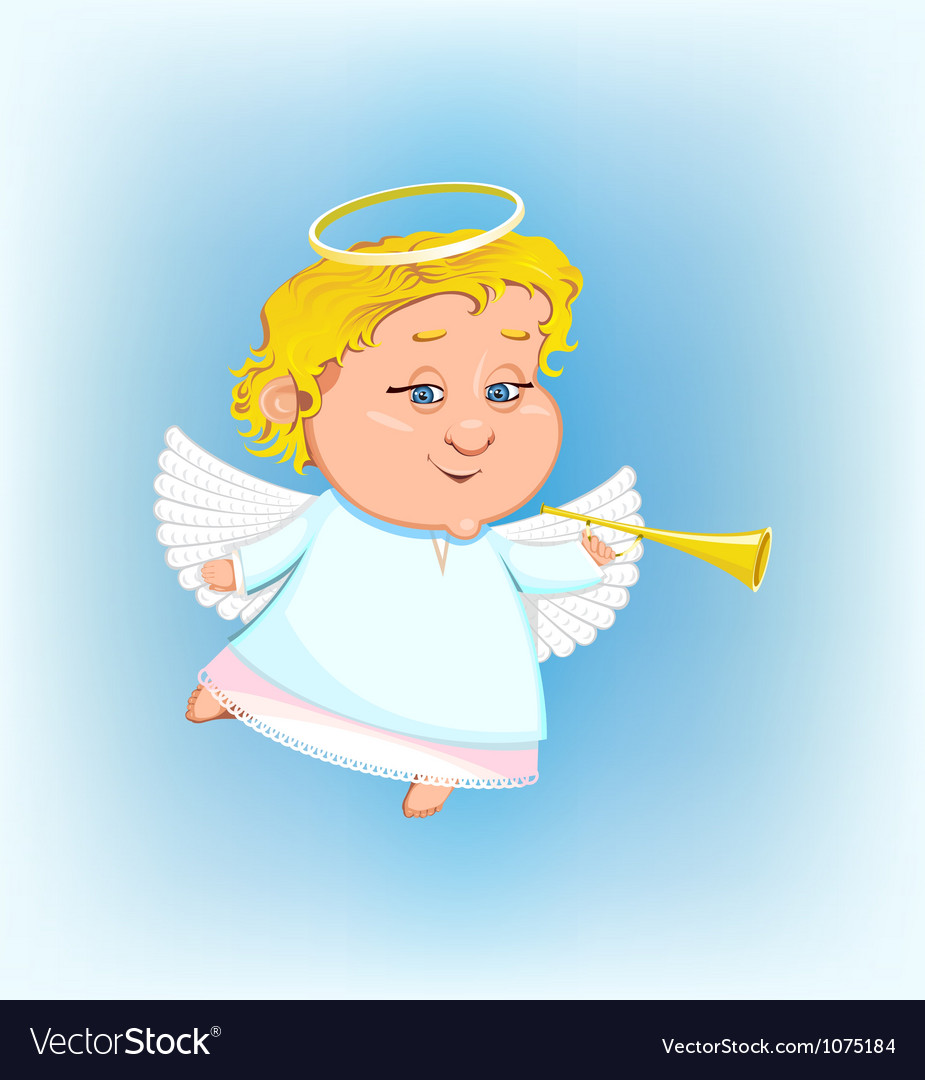 Beautiful angel with a pipe vector | Price: 1 Credit (USD $1)