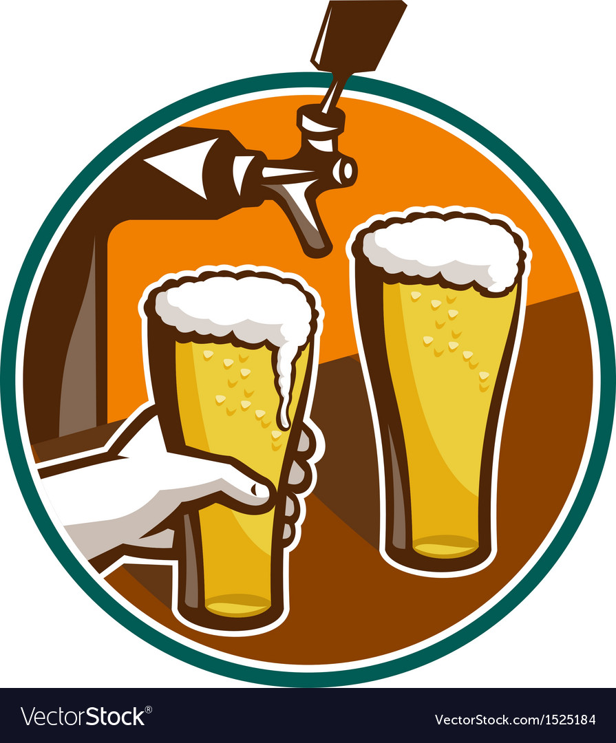 Beer pint glass hand tap retro vector | Price: 1 Credit (USD $1)