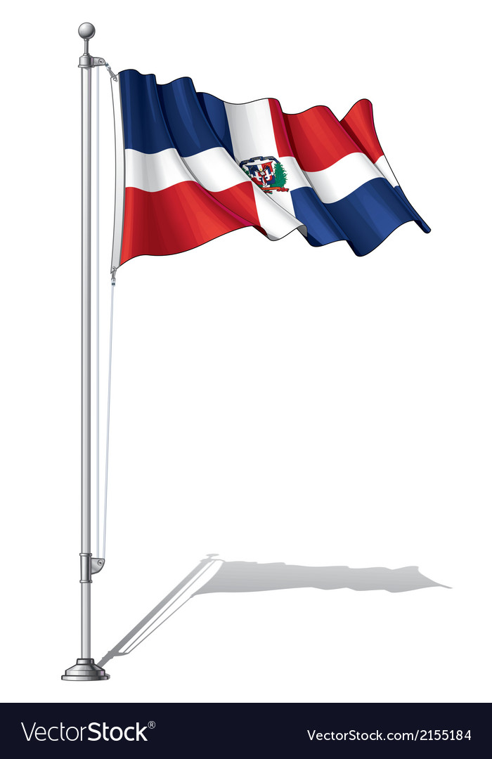 Flag pole dominican republic vector | Price: 1 Credit (USD $1)