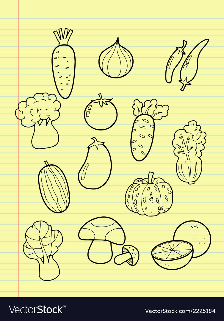 Freehand drawing vegetables vector | Price: 1 Credit (USD $1)