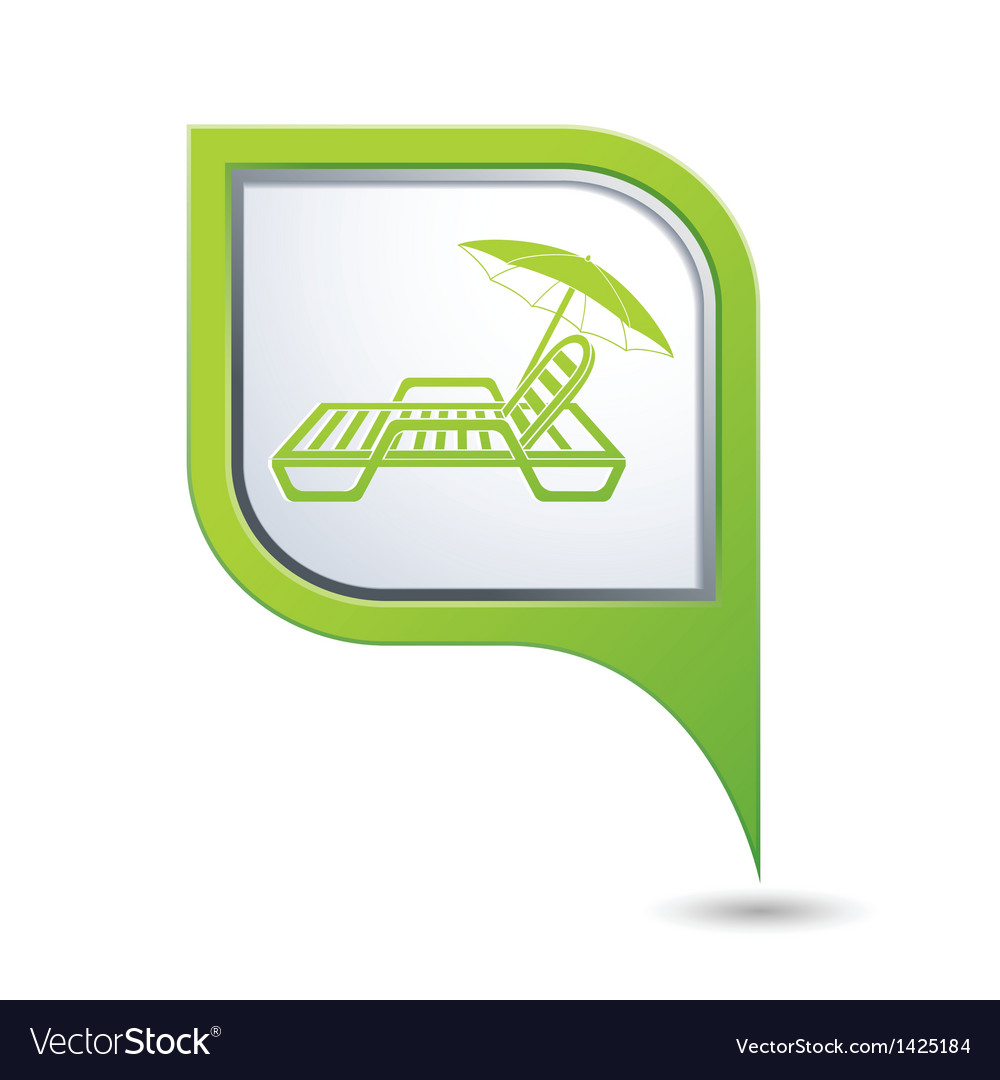 Green map pointer with beach chair icon vector | Price: 1 Credit (USD $1)