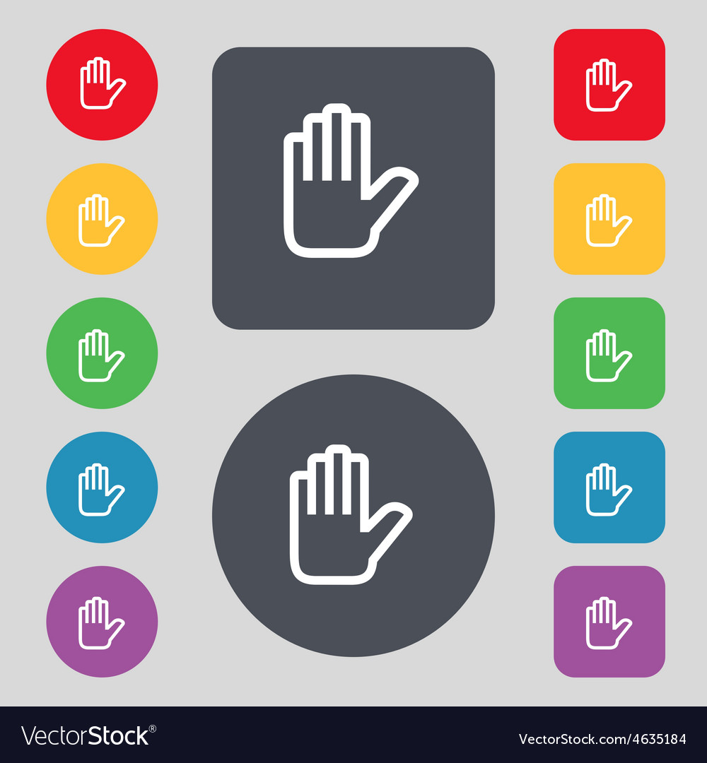 Hand print stop icon sign a set of 12 colored vector | Price: 1 Credit (USD $1)