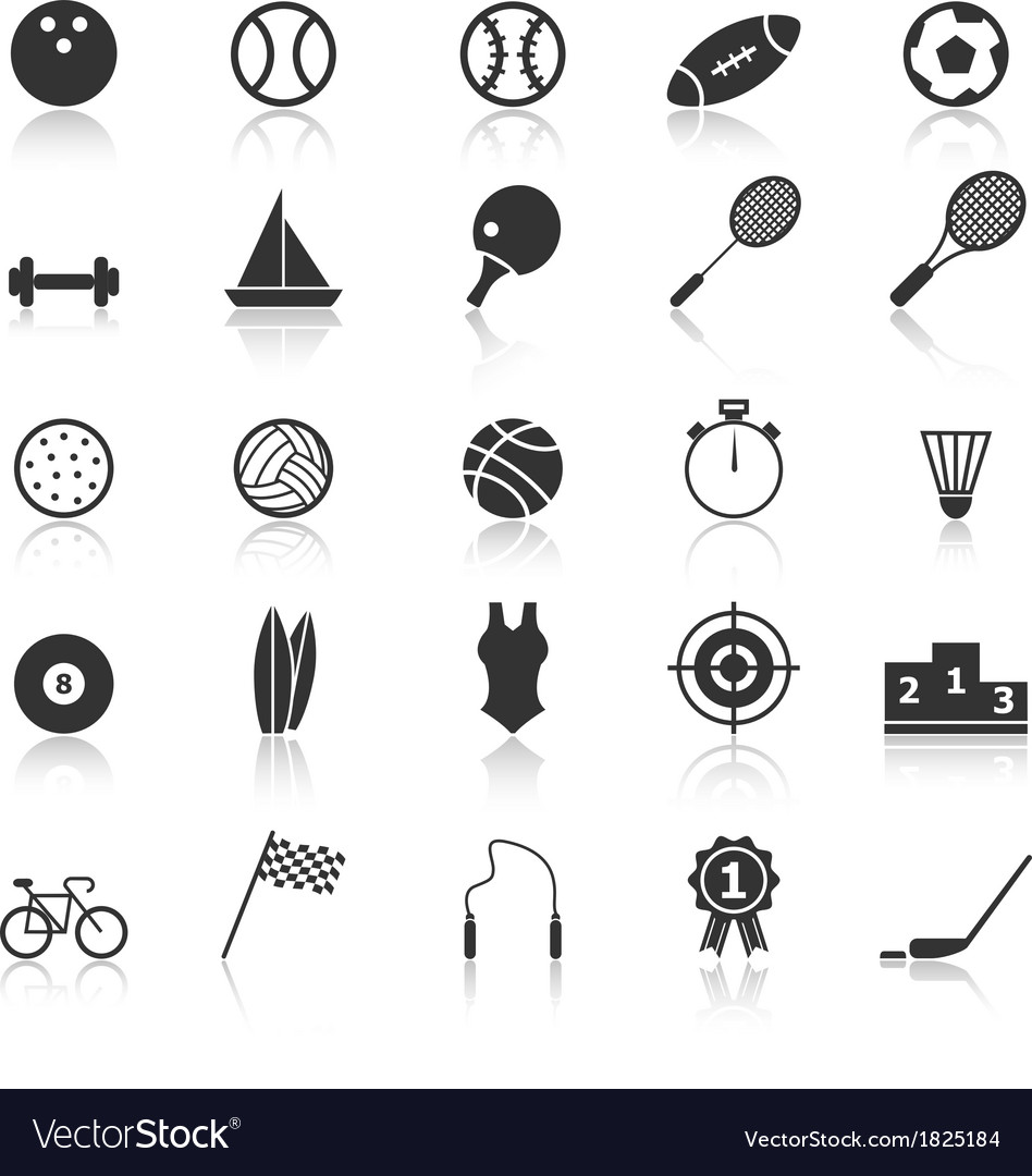 Sport icons with reflect on white background vector | Price: 1 Credit (USD $1)
