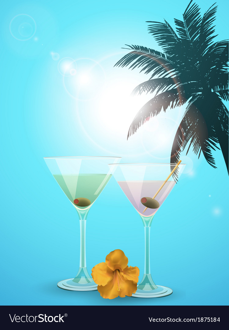 Summer cocktail blue background portrait vector | Price: 1 Credit (USD $1)