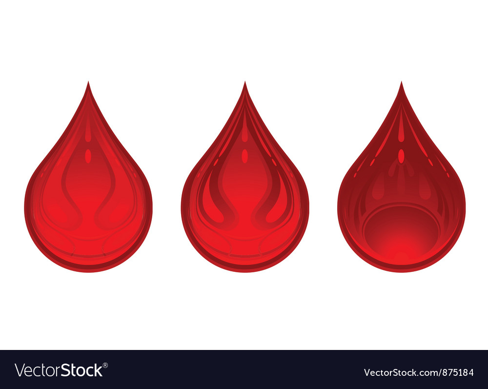 Three drops of blood red color vector | Price: 1 Credit (USD $1)