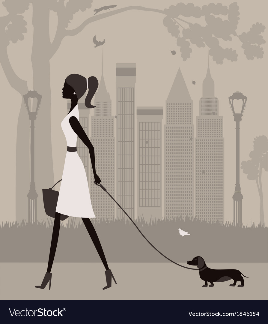 Woman walking with a dog vector | Price: 1 Credit (USD $1)
