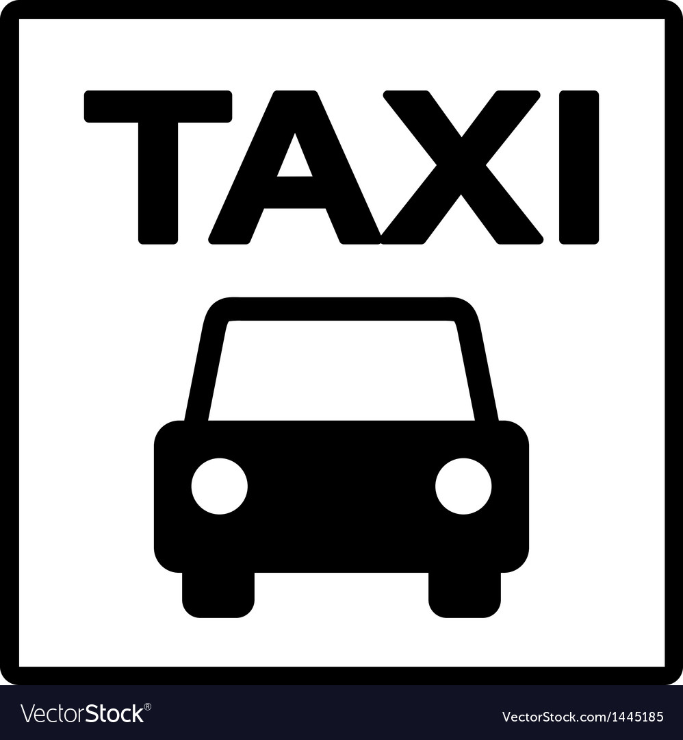 Black and white taxi sign vector | Price: 1 Credit (USD $1)