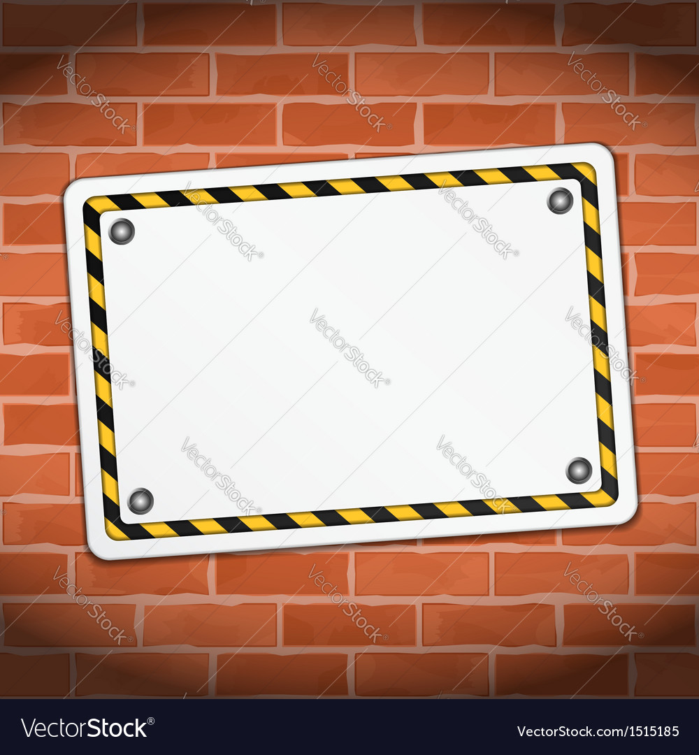 Blank banner on brick wall vector | Price: 1 Credit (USD $1)