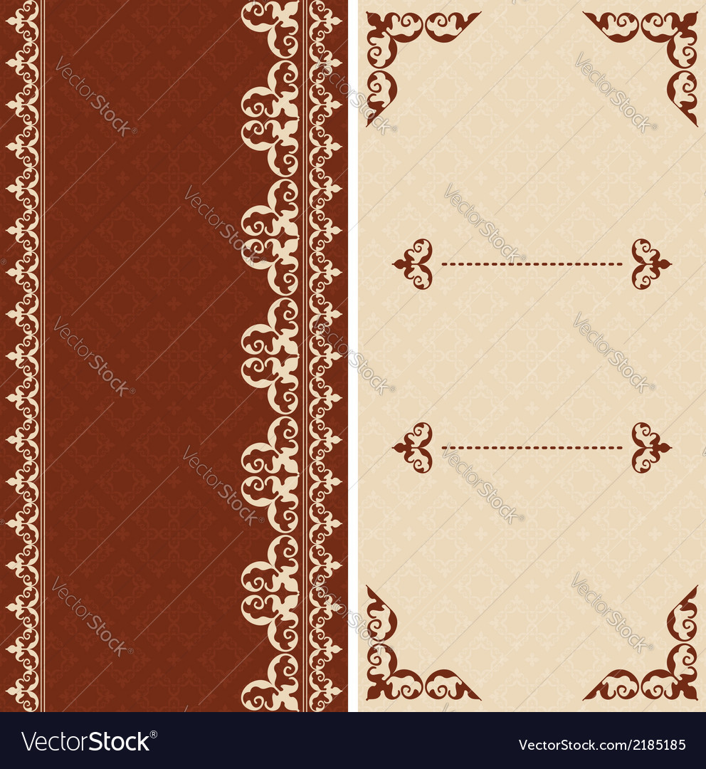 Brown and beige cards with arabic ornament vector | Price: 1 Credit (USD $1)