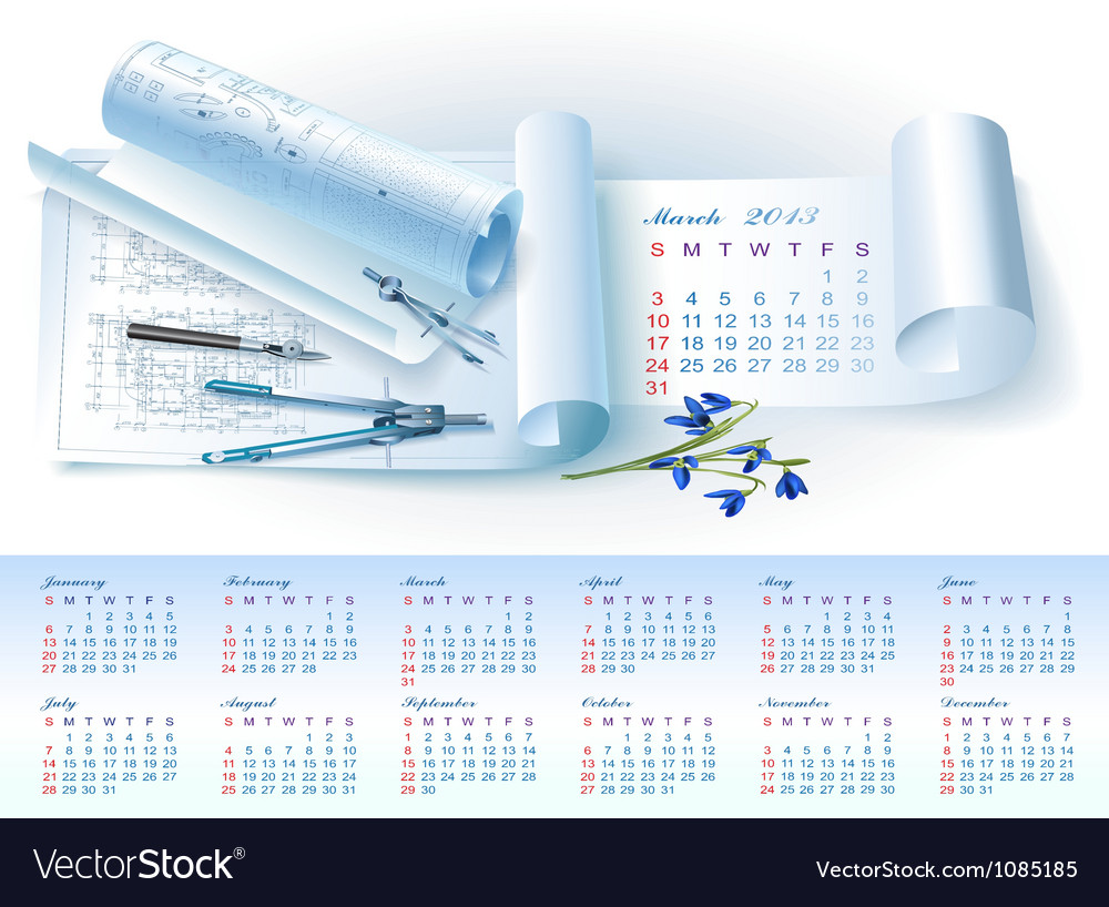Calendar for 2013 with architectural elements vector | Price: 3 Credit (USD $3)