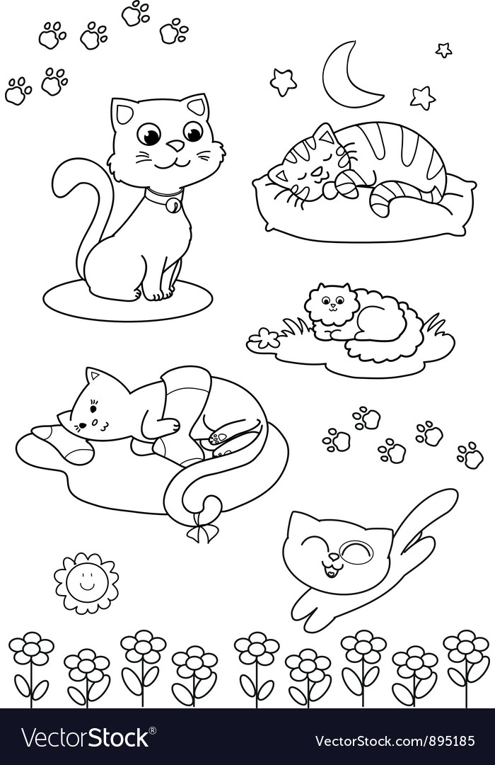 Cute cartoon cats coloring page vector | Price: 1 Credit (USD $1)