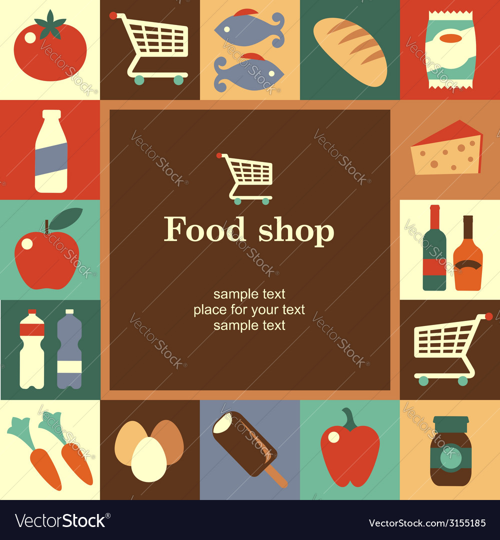 Food shop frame vector | Price: 1 Credit (USD $1)