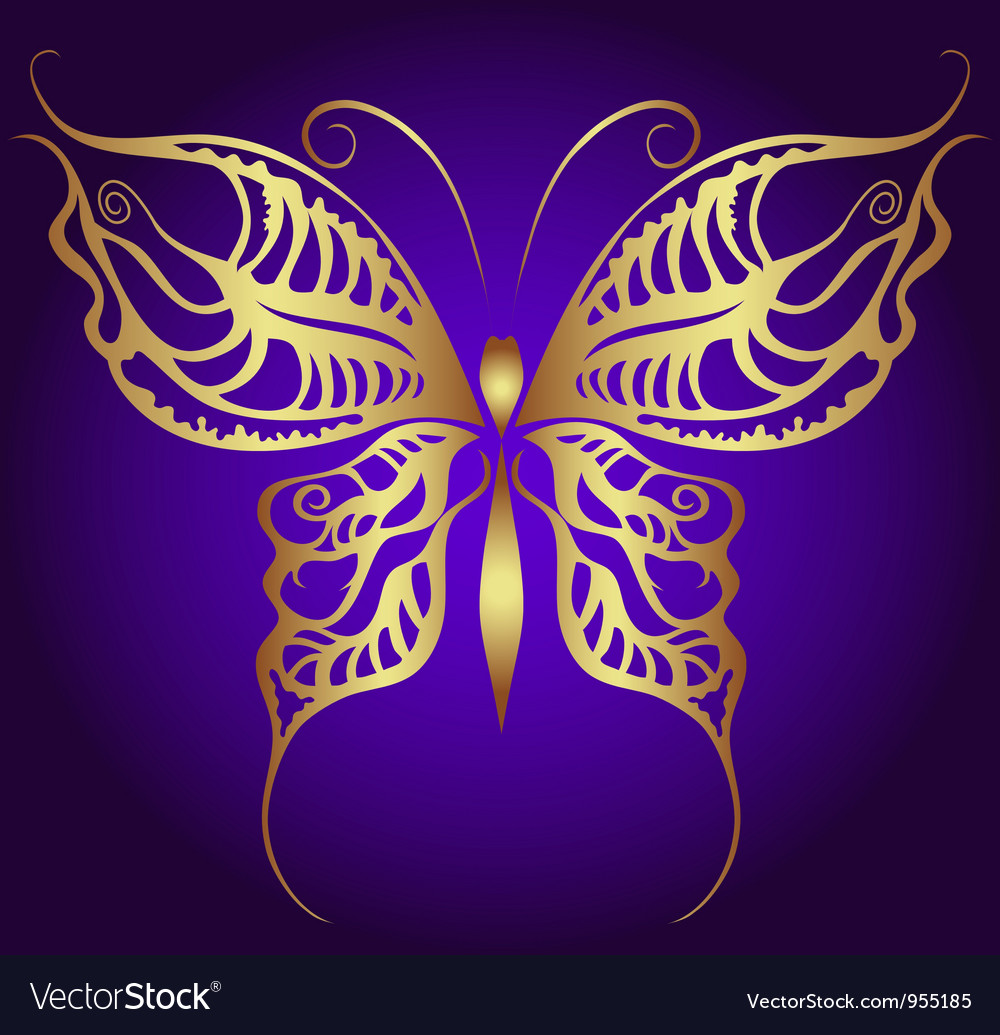Golden butterfly on violet vector | Price: 1 Credit (USD $1)