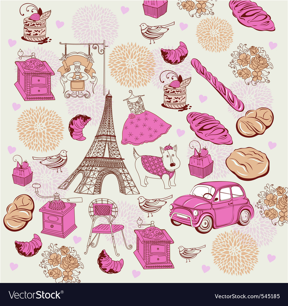 Paris elements background vector | Price: 1 Credit (USD $1)