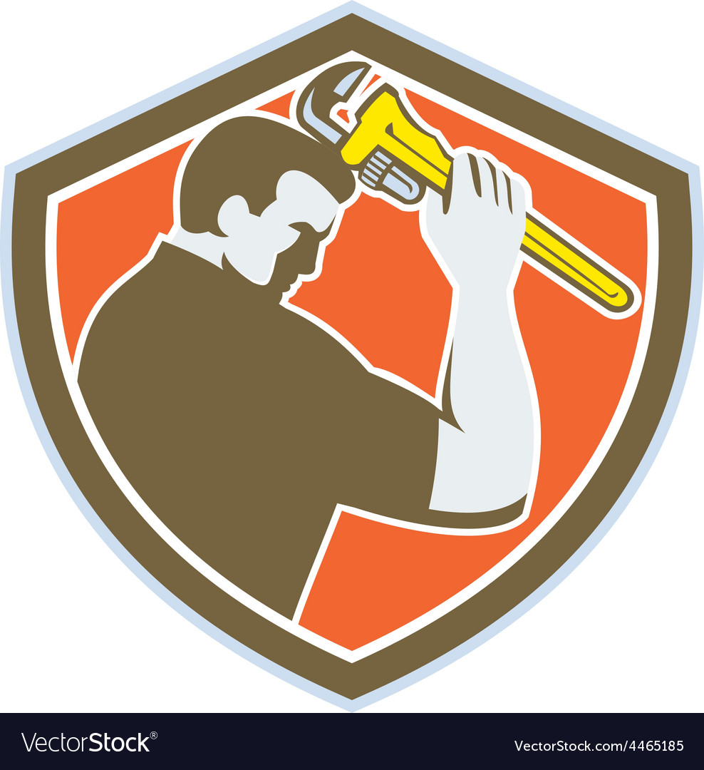 Plumber holding monkey wrench crest retro vector | Price: 1 Credit (USD $1)