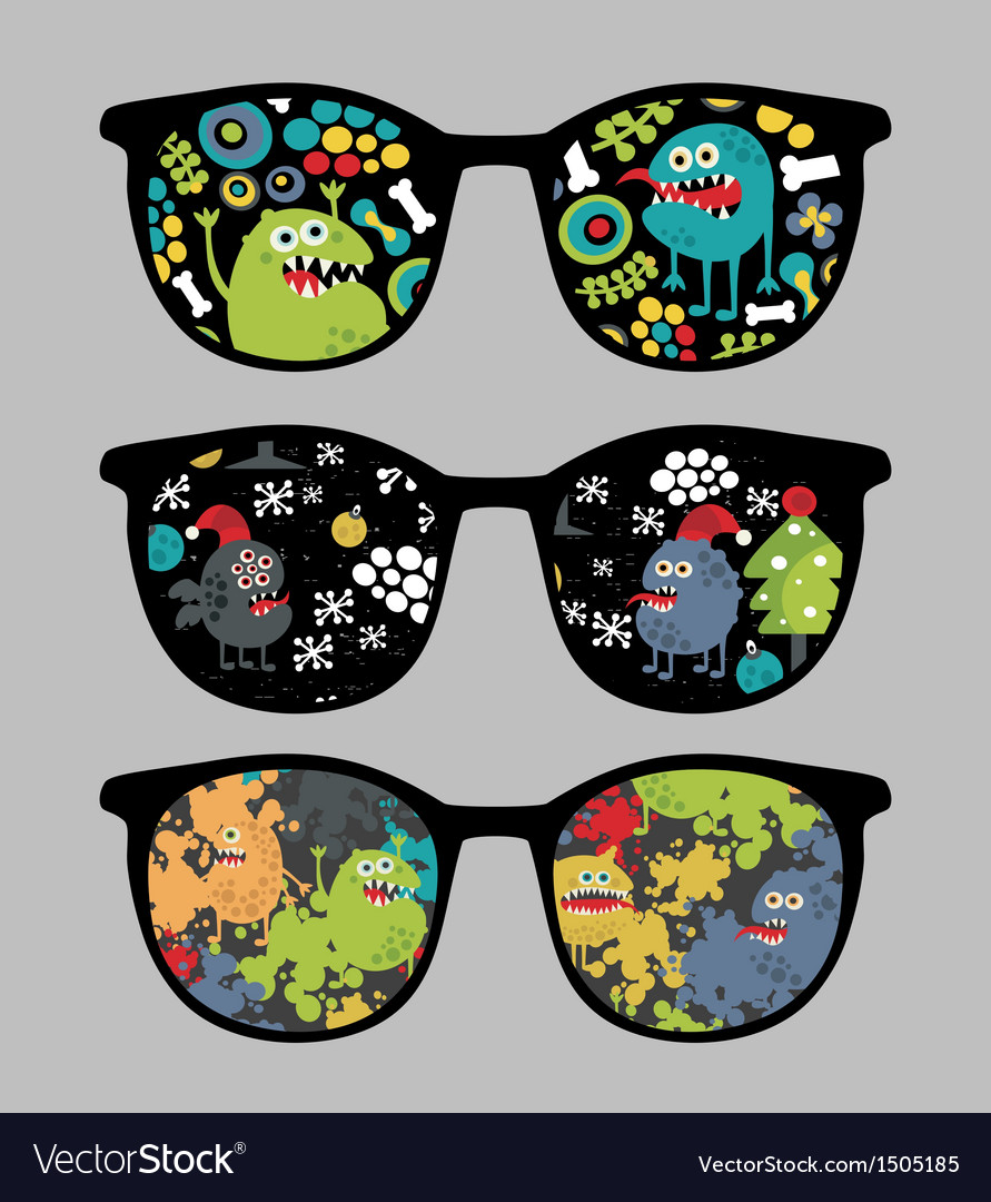 Retro sunglasses with monsters reflection vector   Price: 1 Credit (USD $1)