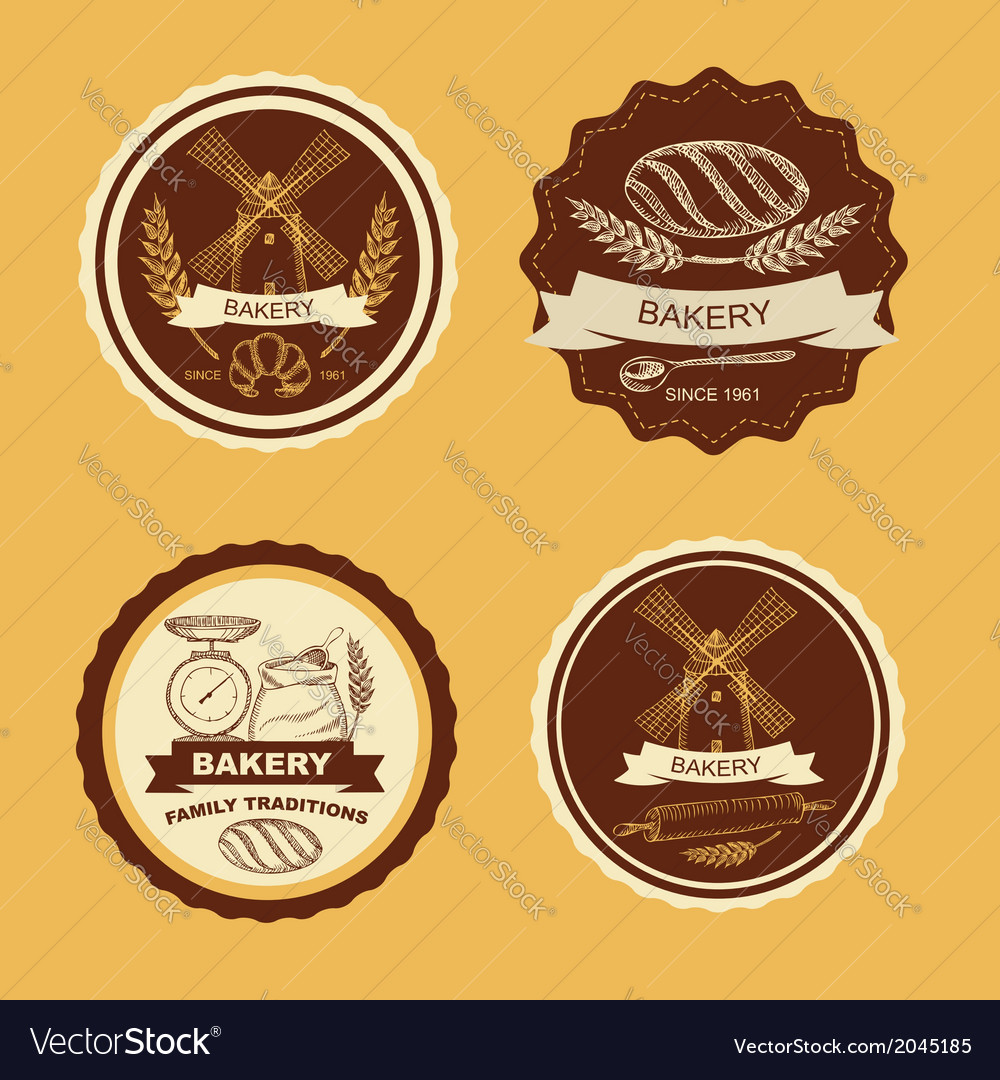 Set of vintage bakery badges and labels retro vector | Price: 1 Credit (USD $1)