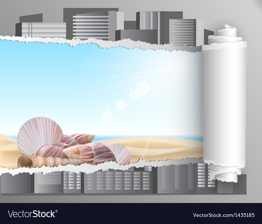 Torn paper with summer background vector | Price: 1 Credit (USD $1)