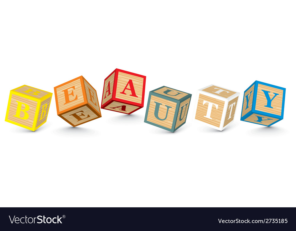 Word beauty written with alphabet blocks vector | Price: 1 Credit (USD $1)