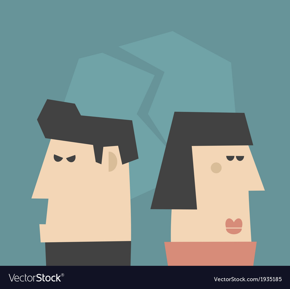 Young couple having relationship problems vector | Price: 1 Credit (USD $1)