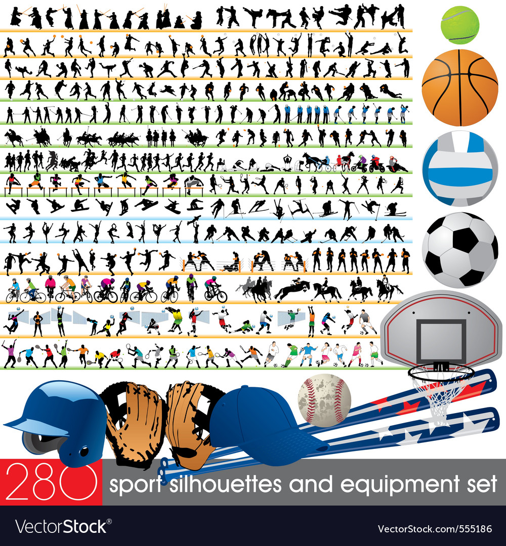 280 sport silhouettes and equipment set vector | Price: 3 Credit (USD $3)