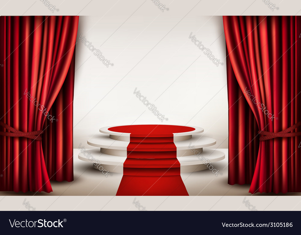 Background with curtains and red carpet leading to vector | Price: 1 Credit (USD $1)