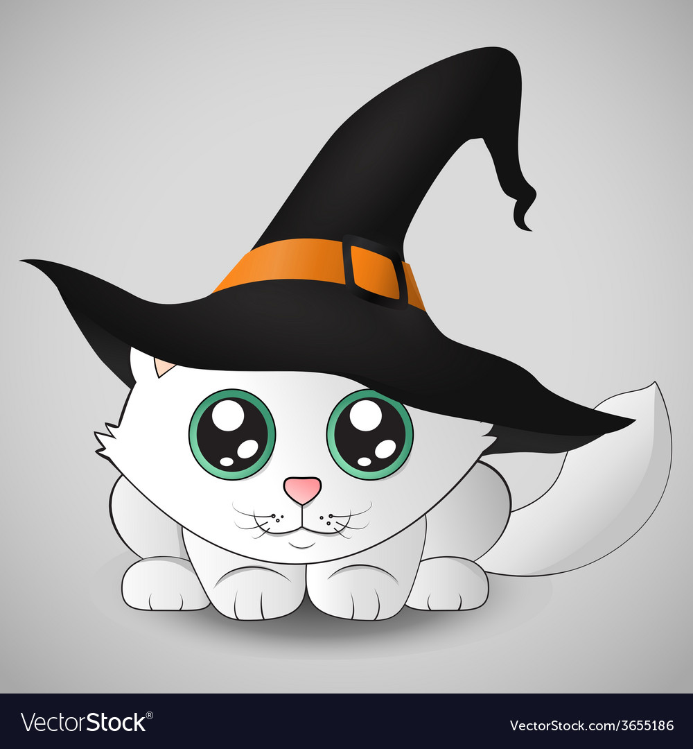 Cute kitty in a witch hat vector | Price: 1 Credit (USD $1)