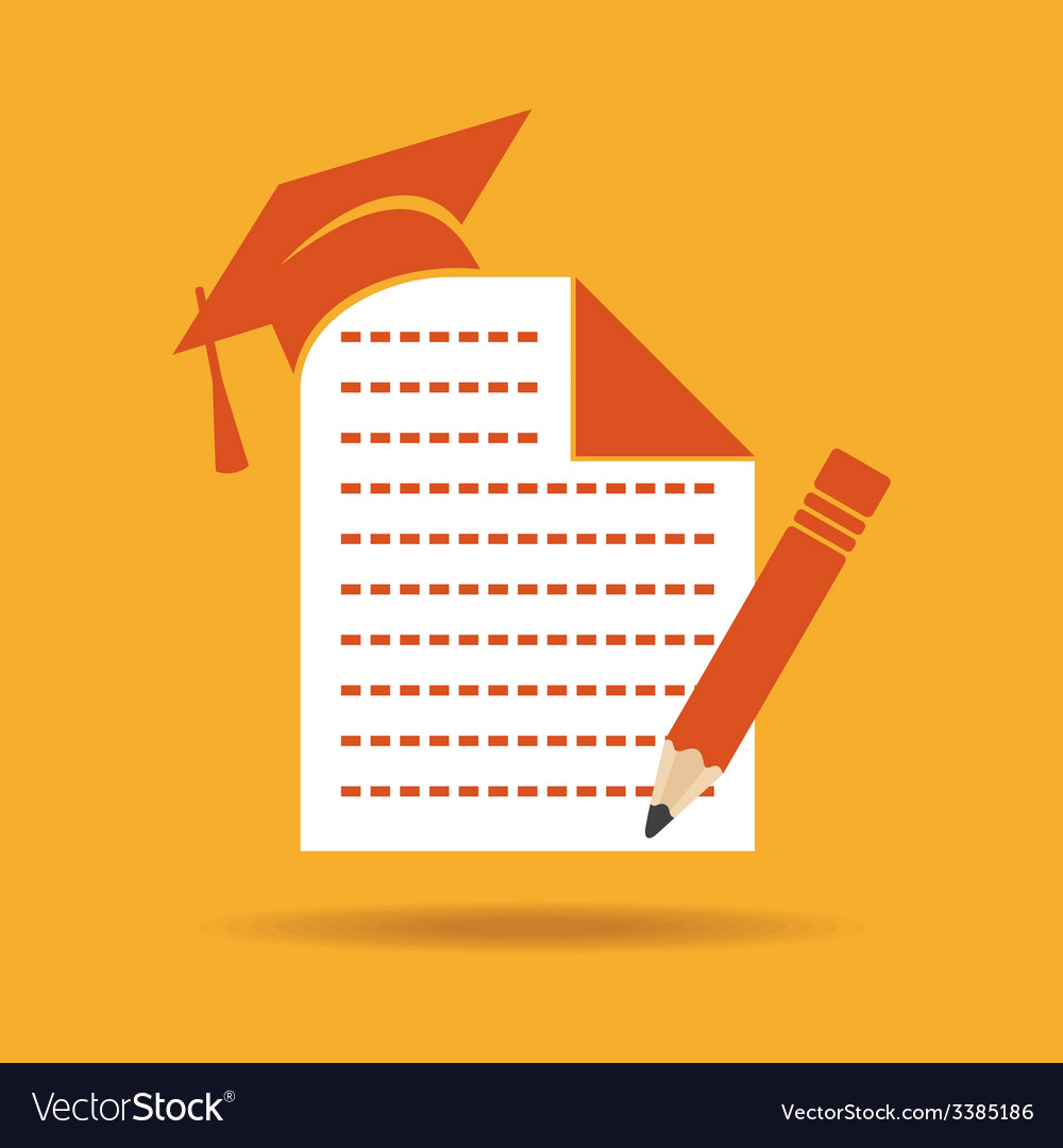Education icon with graduation capnote and pencil vector | Price: 1 Credit (USD $1)