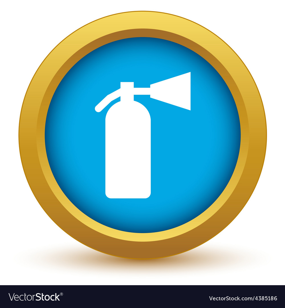 Gold fire extinguisher icon vector | Price: 1 Credit (USD $1)