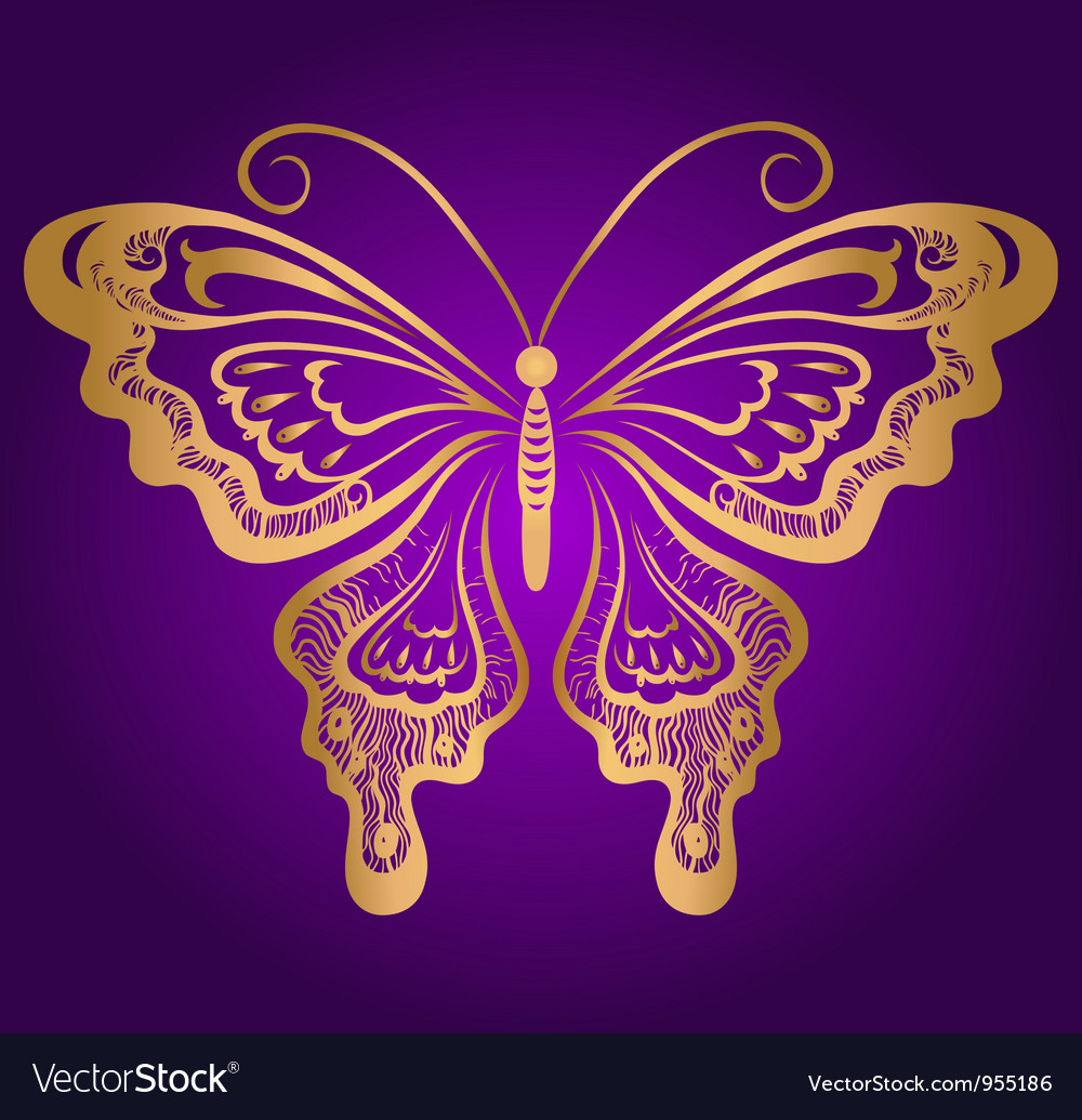 Golden butterfly vector | Price: 1 Credit (USD $1)