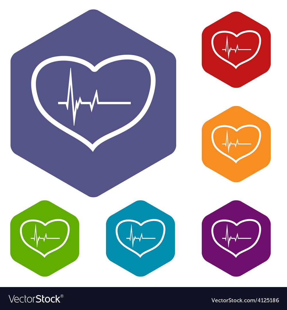 Heartbeat rhombus icons vector | Price: 1 Credit (USD $1)