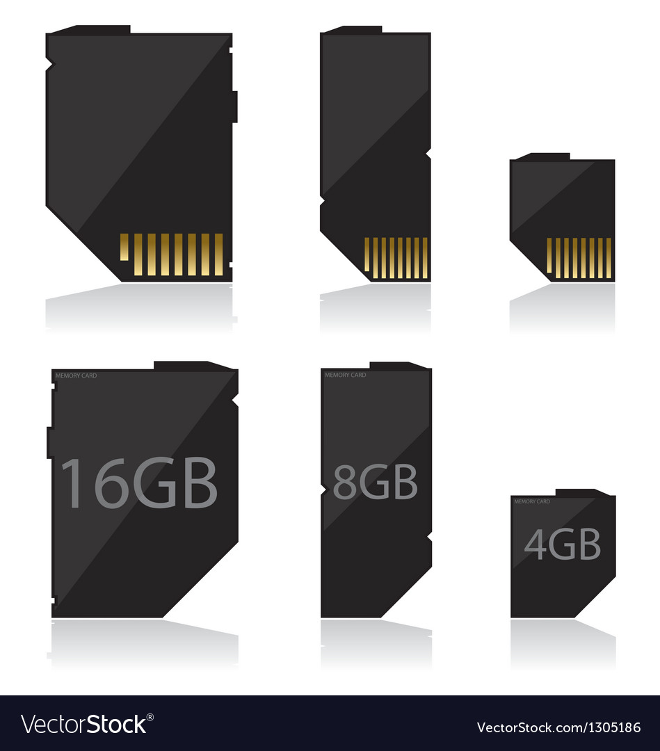Memory card black vector | Price: 1 Credit (USD $1)