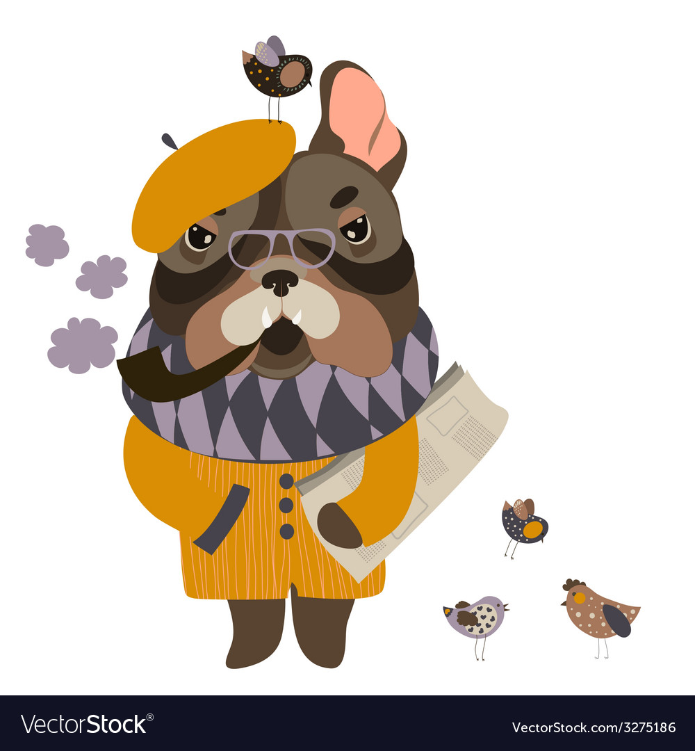 Serious grandpa dog with a newspaper and smoking vector | Price: 1 Credit (USD $1)