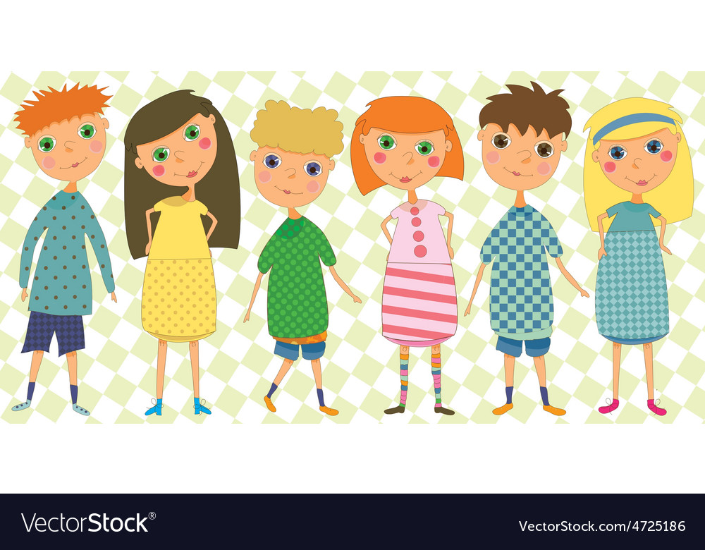 Set of 6 kids in cute clothes vector | Price: 1 Credit (USD $1)