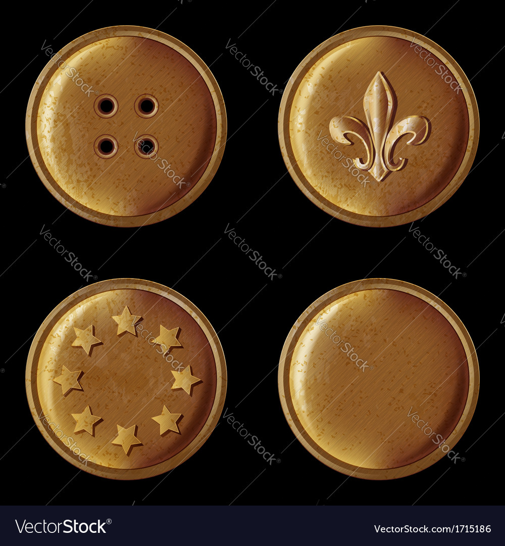 Set of vintage bronze buttons vector | Price: 1 Credit (USD $1)