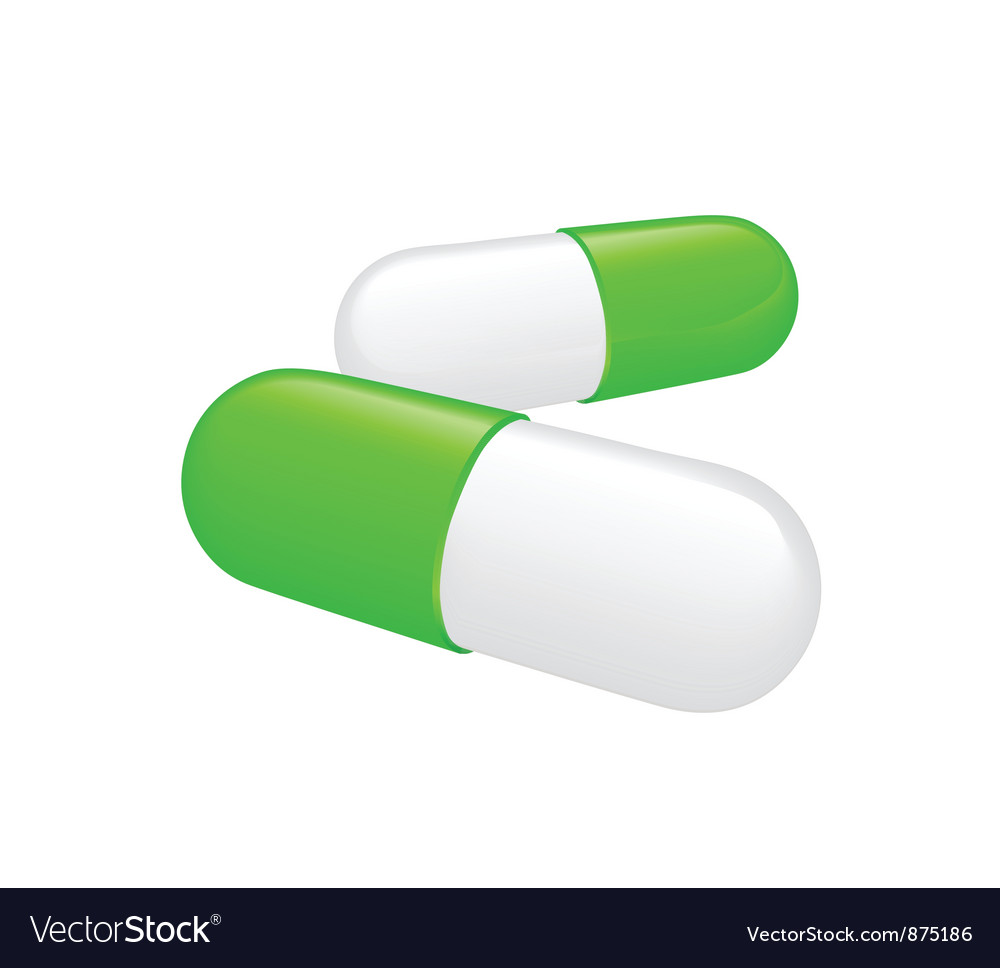 Two greenish white pills on white background vector | Price: 1 Credit (USD $1)