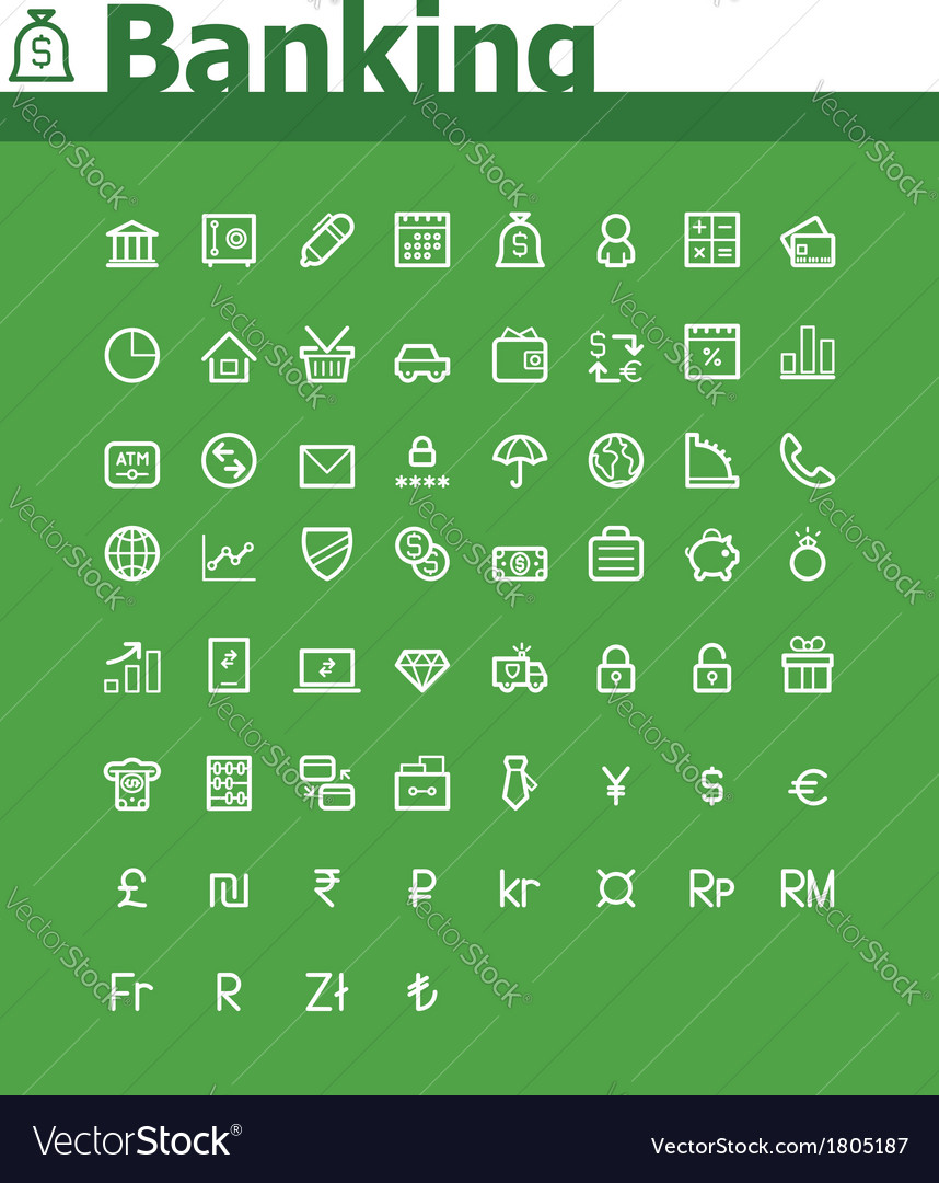 Banking icon set vector | Price: 1 Credit (USD $1)