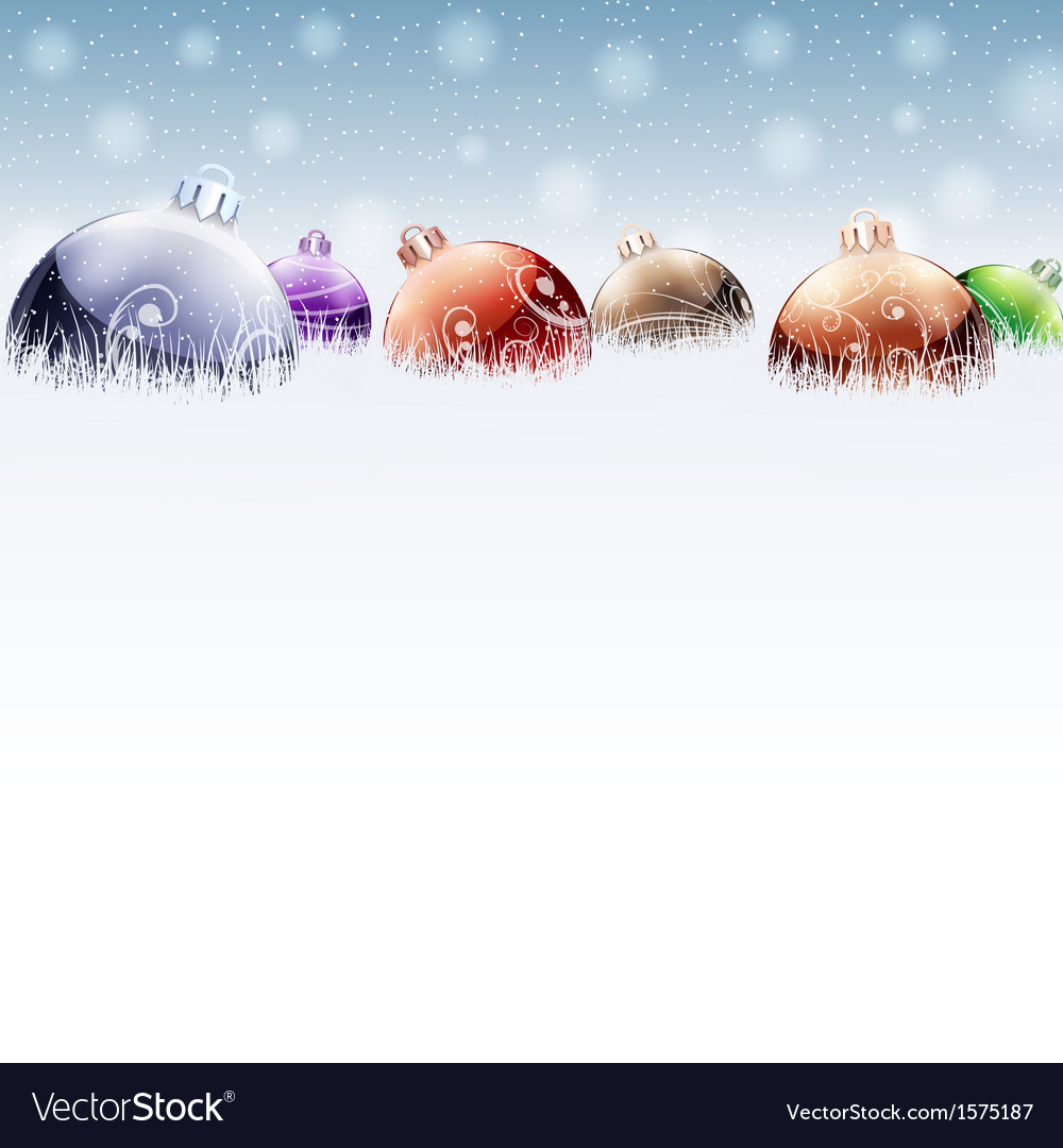 Christmas color baubles on snow vector | Price: 1 Credit (USD $1)