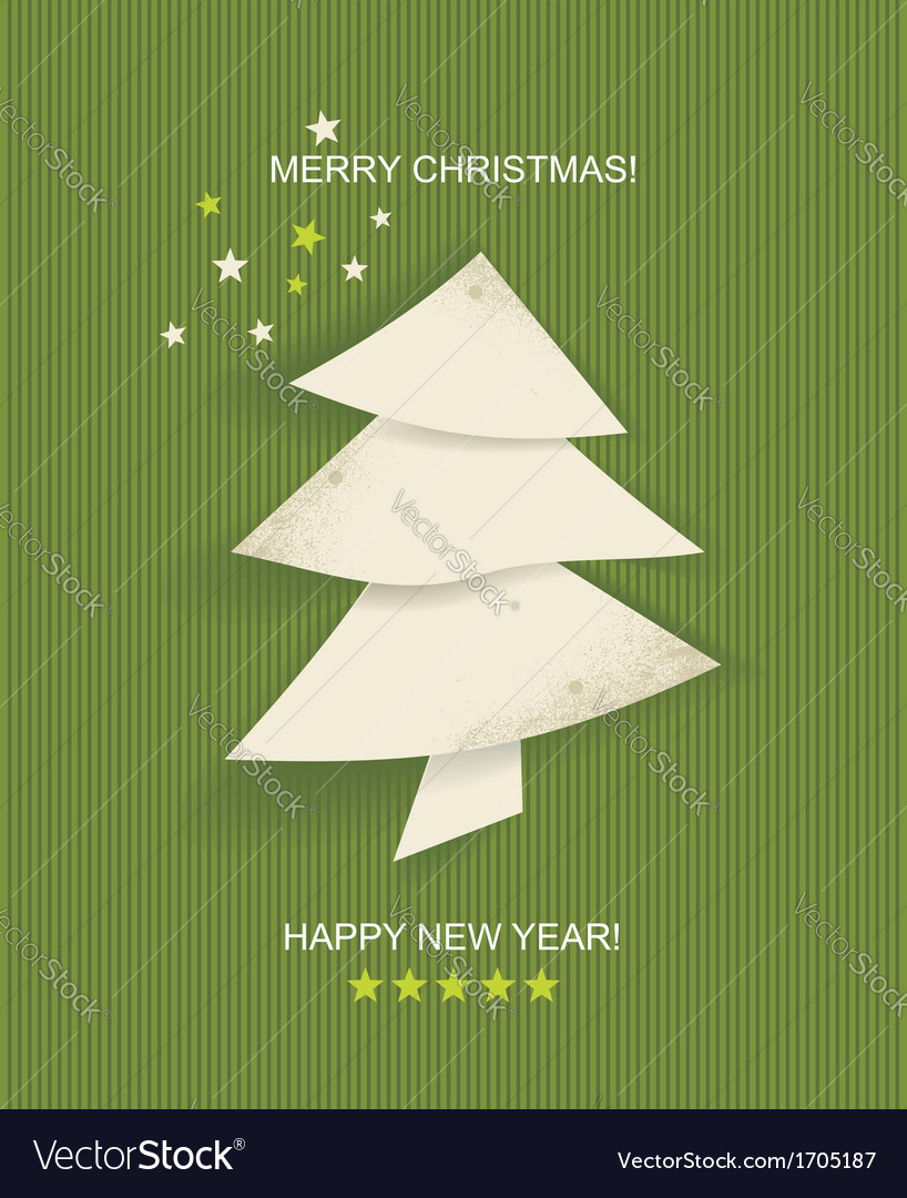 Christmas tree white isolated origami vector | Price: 1 Credit (USD $1)