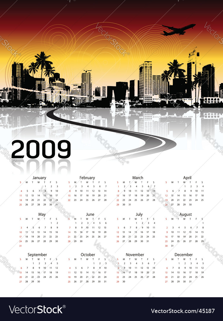 Cityscape background calendar vector | Price: 1 Credit (USD $1)